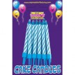 12 Blue & White Birthday Candles With Holders