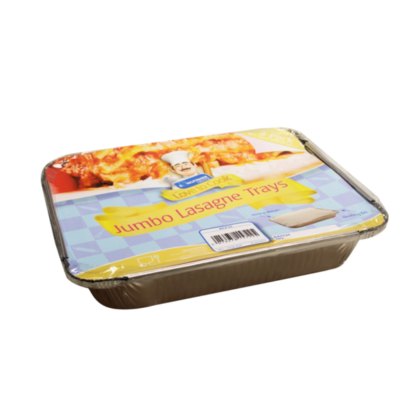3 PACK OF JUMBO LASAGNE FOIL TRAYS