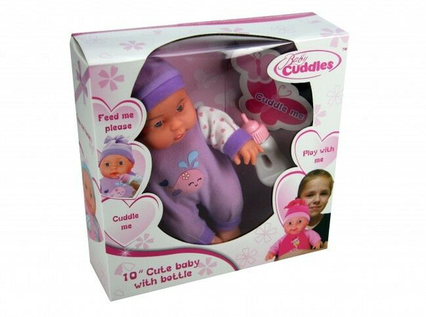 10 Inch 25cm Soft Bodied Baby Doll With Feeding Bottle [Ages 3+]