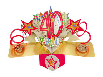 40th Birthday Card  (Stars) - Pop Up Card