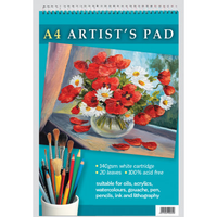 A4 ARTIST'S PAD 140GSM WHITE CARTRIDGE. 20 PAGES. 100% ACID FREE