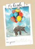 Birthday Greeting Card - Elephant & Balloons - BLANK