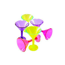 6 Plastic Martini Glasses