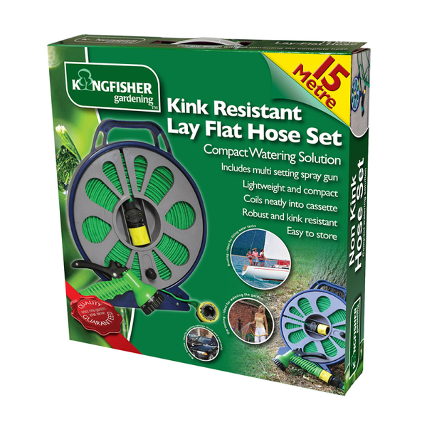 15m Lay Flat hose in cassette. Includes multi-setting spray gun and fittings.
