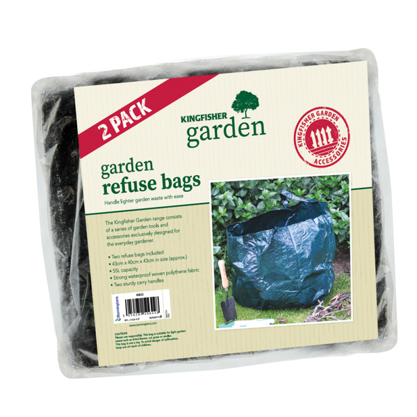 2 PACK Garden refuse bag with two handles. Strong woven polythene fabric. 55L capacity.
