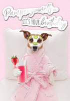 Greeting Card - Open - Dog With Face Mask
