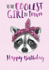 Birthday Greeting Card - Open - Coolest Girl on the Block