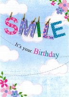Birthday Greeting Card - Open - SMILE Line - BLANK