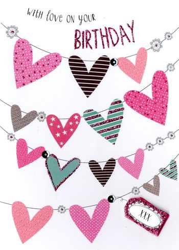 Birthday Greeting Card - Lines of Hearts- BLANK