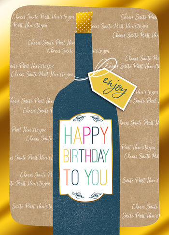 Birthday Greeting Card - Open - Wine Bottle BLANK