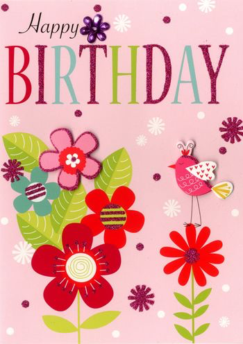 Birthday Greeting Card - Flowers