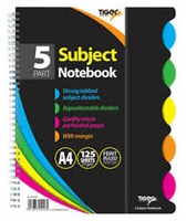 Tiger 5 Part Subject Notebook A4 - 125 pages