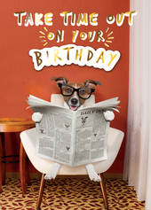 Birthday Greeting Card - Open - Dog Reading Newspaper