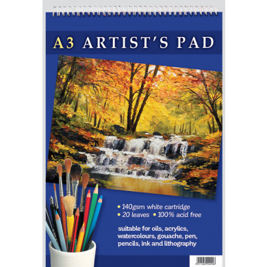 A3 ARTIST'S PAD 140GSM WHITE CARTRIDGE. 20 PAGES. 100% ACID FREE