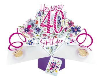 40th Birthday Card (Flowers) - Pop Up Card
