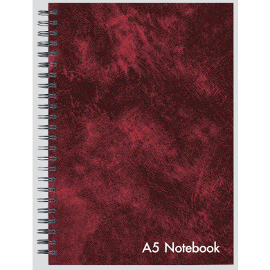 CLUB A5 LEATHER LOOK TWIN WIRE NOTEBOOK