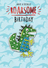 Birthday Greeting Card - Open - Dinosaur