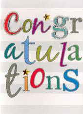 Greeting Card - CONGRATULATIONS - Lettering - Blank