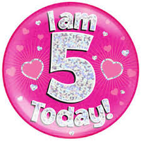 Birthday Badge - Age 5 - GIRL - Assorted Designs