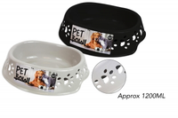 SMALL PET BOWL WITH PAW DESIGN 22 X 26 X 7CM