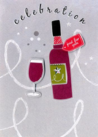 Birthday Card - Red Wine Bottle & Glass