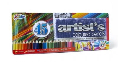 45pc TIN ARTIST PENCIL COLOURS