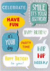 Birthday Greeting Card - Open - Birthday Wording Bubbles - BLANK