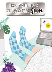 Greeting Card - Get Well - Feet up