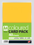 A4 COLOURED CARD PACK 220GSM 40 SHEETS