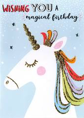 Birthday Greeting Card - Open - Magical Unicorn  Bday