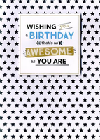 Birthday Card - BLANK - Square Die Cut and Black Stars