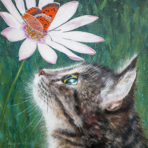 Greeting Card -Small Copper and Tabby Cat- Blank