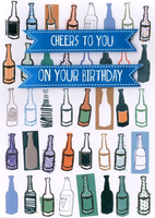 Birthday Greeting Card - Beer Bottles