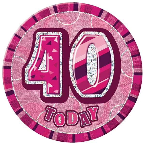 Birthday Badge - Age 40 - Assorted Designs