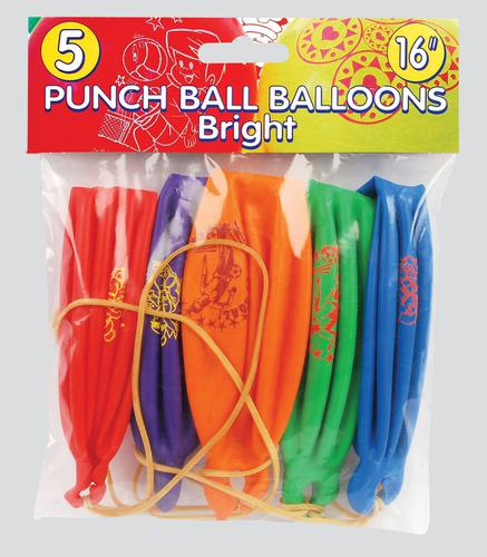 PUNCH BALL BALLOONS x5 BRIGHT