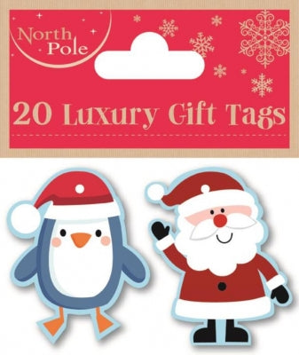20pk Santa & Penguin Tags