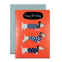 Birthday Greeting Card - Open - Sausage Dog