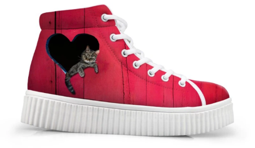 Sneakers with heart logo