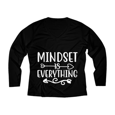 Mindset Is Everyone Women's Long Sleeve Performance V-neck Tee