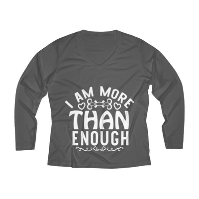 I Am More Than Enough Women's Long Sleeve Performance V-neck Tee
