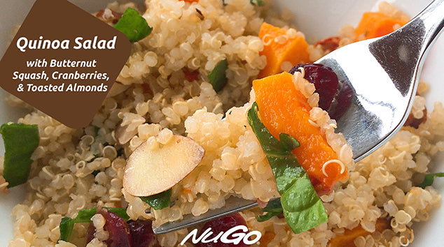 Quinoa Salad with Butternut Squash, Cranberries and Toasted Almonds