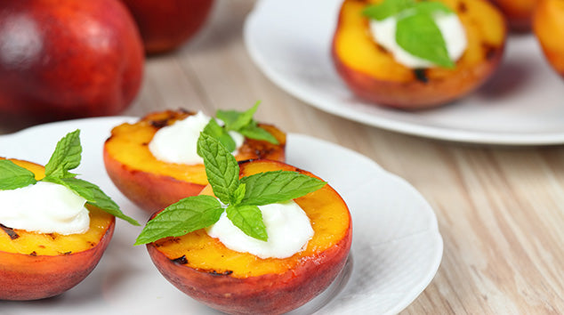Baked Peaches with Vegan Cream