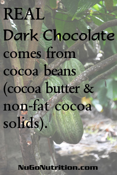REAL Dark Chocolate comes only from cocoa beans (cocoa butter and non-fat cocoa solids).