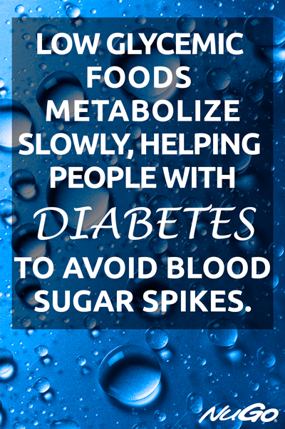 Low glycemic foods metabolize slowly, helping people with diabetes to avoid blood sugar spikes.