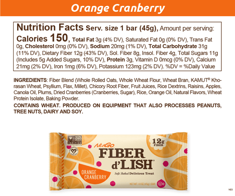 NuGo Fiber d'Lish Orange Cranberry
