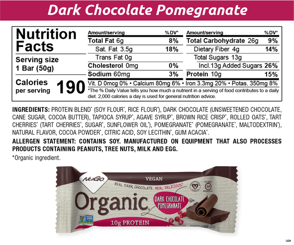 NuGo Organic Dark Chocolate Pomegranate Nutritionals