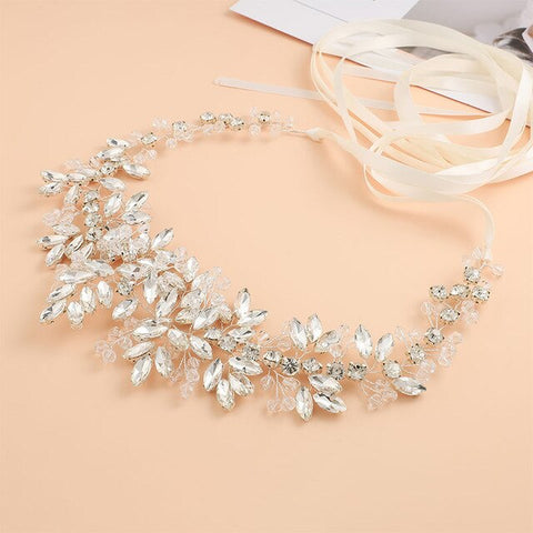 Bridal Satin Belts Crystal Beads Silver Color