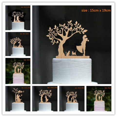 Mixed Style wood cake topper