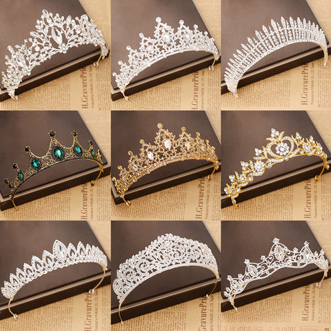 gold silver crystal tiara hair accessories