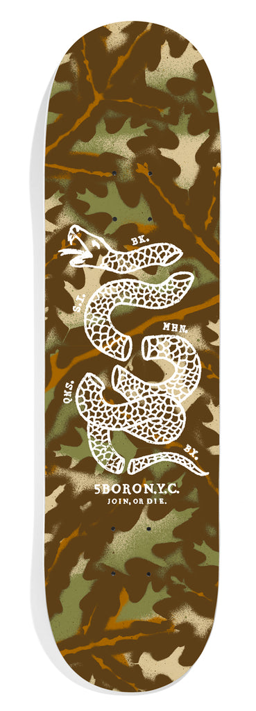 Green & Brown Stenciled Leaf Camo with Join or Die Snake Printed in White